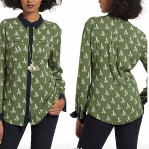 Anthropologie Maeve Bicycle Bagatelle Buttondown